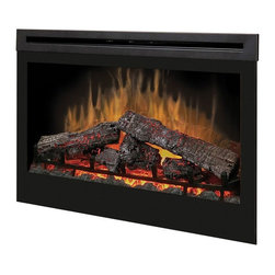 Dimplex - Dimplex 33 in. Self-Trimming Electric Firebox Multicolor - DF3033ST - Shop for Fire Places Wood Stoves and Hardware from Hayneedle.com! The Dimplex 33 in. Self-Trimming Electric Firebox is your standard quality electric fireplace made to fit any room or design. It glows with an engaging flame over realistic logs. It can be enjoyed with or without heat and it includes a remote control for easy adjustments.About DimplexDimplex North America Limited is the world leader in electric heating offering a wide range of residential commercial and industrial products. The company's commitment to innovation has fostered outstanding product development and design excellence. Recent innovations include the patented electric flame technology - the company made history in the fireplace industry when it developed and produced the first electric fireplace with a truly realistic wood burning flame effect in 1995. The company has since been granted 87 patents covering various areas of electric flame technology and 37 more are pending. Dimplex is a green choice because its products do not produce carbon monoxide or emissions.