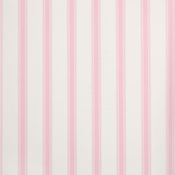 Wallpaper Worldwide - Hero - Classic Stripe Wallpaper, White, Pink - Material: Paper