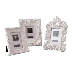 "Two's Company - White Mod Ornate Photo Frames, Set of 3 - Two's Company White Mod Ornate 4""x 6"" picture frames."