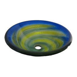 Novatto - GIRATA Blue Round Glass Vessel Sink with Green and Yellow Swirls - Girata is a fused single layer vessel constructed of high tempered glass with a blue, green, and yellow twist of color. A perfect vessel for a bath looking for a unique twist. Novatto uses advanced technology, including computerized glass processing, to produce unique glass basins with unmatched structural integrity and longevity. Internal testing has found these glass vessels to be very durable and forgiving. Items such as toothbrushes or small jewelry should not scratch the surface. For best cleaning results, a soft cloth with mild soap and water or a non-abrasive glass cleaner is recommended. Made with the highest standards of quality and creative design, Novatto sinks add art and function to any bath or powder room.