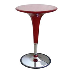 Wholesale Interiors - Nu Red Table - Table constructed of steel tubing and is made of red ABS plastic that comes in a variety of colors. Raising and lowering the table base is made simple with the gas hydraulic piston system. From its futuristic curves to its shiny vintage chrome the Clyde Adjustable Height Pub Table adds contemporary cool to your rec room or kitchen. Made of steel tubing and ABS plastic this pub table has a chrome-finished base and a tabletop that comes in your choice of colors. The rubber-lined base grips the floor and helps prevent tipping while the gas hydraulic piston system makes raising and lowering the table base easy. It adjusts in height from 25 to 35 inches.
