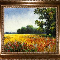"overstockArt.com - Monet - Oat Fields Oil Painting - 20"" x 24"" Oil Painting On Canvas Need Help Decorating your Home? Click Here to get Inspired! Hand painted oil reproduction of a famous Monet painting, Oat Fields. Also called Champ d'avoine. Today it has been carefully recreated detail-by-detail, color-by-color to near perfection. Why settle for a print when you can add sophistication to your rooms with a beautiful fine gallery reproduction oil painting? While Monet successfully captured life's reality in many of his works, his aim was to analyze the ever-changing nature of color and light. Known as the classic Impressionist, Monet cannot help but inspire deep admiration for his talent in those who view his work. This work of art has the same emotions and beauty as the original. Why not grace your home with this reproduced masterpiece? It is sure to bring many admirers!"