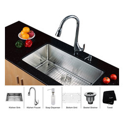 Kraus - Kraus 32 inch Undermount Single Bowl Stainless Steel Kitchen Sink with Chrome Ki - *Add an elegant touch to your kitchen with unique Kraus kitchen combo