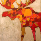Moose by Mimi Gravel - Large format artwork - Mainly mixed medium on birch panel or canvas.