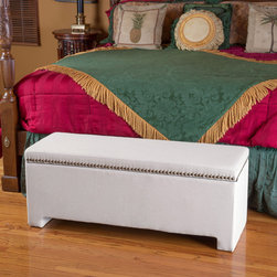 Christopher Knight Home - Christopher Knight Home Norfolk Ivory Storage Bench - The Norfolk storage bench is a stylish addition to any bedroom. With studded detailing along the juxtaposing the fabric upholstery this bed end bench is a versatile storage solution that will compliment any décor.