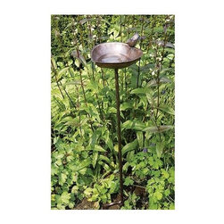 Achla - Heart Shaped Bird Bath in Antique Finish - Includes Roman bronze stake. 90 days warranty. Made from copper plated stainless steel. Made in India. No assembly required. 9 in. W x 9 in. D x 3.5 in. H (1 lbs.)This whimsical birdbath will bring a smile to your face the moment you set eye on it.