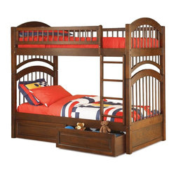 Atlantic Furniture - Windsor Twin Over Twin Bunk Bed in Antique Wa - Comes with a slat kit for mattress support. Includes two 14 pieces engineered hardwood slat kits. Optional underbed raised panel drawers not included. Made of premium, eco-friendly hardwood with a 5-step finishing process. Solid hardwood Mortise & Tenon construction. 26-Steel reinforcement points. Boasts long arches and 3 in. corner posts. Designed for durability. Guard rails match panel design. Meet or exceed all ASTM bunk bed standards, which require the upper bunk to support 400 lbs.. Clearance from floor without trundle or storage drawers: 11.25 in.. 79.75 in. L x 42.75 in. W x 71 in. H. Optional flat panel drawers: 74 in. L x 22 in. W x 12 in. H. Optional raised panel drawers: 74 in. L x 24.38 in. W x 12 in. H. Optional raised panel trundle: 74.75 in. L x 40.38 in. W x 11.63 in. H. Bunk Bed Warning. Please read before purchase