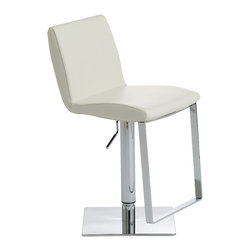 "Nuevo Living - Lewis White Leather Adjustable Bar Counter Stool by Nuevo - HGAF167 - Transform any space into undeniable modern elegance with this Lewis modern adjustable stool in white leather. This unique piece is one of the frontrunners in how modern design is changing the way we live. With the smooth curves of its seat and the sleek look of its chrome, the Lewis adjustable stool is an instant eye catcher. It also has an adjustable seat height enabling you to choose the height that's right for your table or counter. Available in black, white, or brown top-grain Italian leather with 1/4"" high-polish stainless steel base and chromed metal hydraulic lift and footrest."