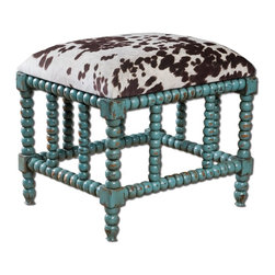 Matthew Williams - Matthew Williams Chahna Traditional Small Bench X-50632 - Aqua Blue Finish On Solid, Plantation Grown Mango Wood With Cushioned Seat In Plush, Dark Chocolate And Milky White Velvet.