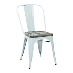 Office Star - Office Star Bristow Vintage Metal Chair in White and Ash (Set of 4) - Office Star - Dining Chairs - BRW2911C306 - OSP Designs Bristow Metal Chair with Vintage Wood Seat (White Finish Frame and Ash Crazy Horse Finish Seat). Take a further step into style when you purchase the stylish vintage metal chair.