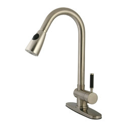 """Kingston Brass - Single Lever Handle Kitchen Faucet with Pull-down Sprayer - This pull-down single-lever kitchen faucet from Kaiser features a 8-1/4"""" long, 10"""" high gooseneck spout which hangs over the sink to allow easy access to all areas of your sink. The chrome-plated finish adds long-lasting protection with its sleek lustrous appeal bringing life to your kitchen. Can be installed in a single or three-hole configuration.; Built-in Pull Down sprayer; Lifetime Ceramic Cartridge; Contemporary Single Lever w/Neoprene Insert; 8 1/4"""" Spout Projection; 1 or 3 Hole Installation with a 10"""" spout clearance; Material: Brass; Finish: Satin Nickel; Collection: Kaiser"""