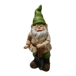 Alpine Fountains - Gnome w Shovel Statue - Made of Fiberglass. 1 Year Limited Warranty. Assembly Required. Overall Dimensions: 10 in. L x 9 in. W x 23 in. H (7.48 lbs)Add color, spice and life to your outdoors with these fiberglass gnome statuaries. Each has its own playful personality and is sure to bring a fanciful feel to any yard, garden or deck. These sturdy statuaries boast earth hues of green and beige.