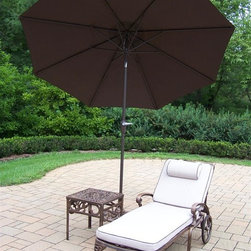 Oakland Living - 3-Pc Cushioned Chaise Lounge Set - Includes chaise lounge, side table and 9 ft. tilting umbrella with stand. Metal hardware. Lightweight. Fade, chip and crack resistant. Warranty: One year limited. Made from rust free cast aluminum. Antique bronze hardened powder coat finish. Minimal assembly required. End table: 17.5 in. W x 17.5 in. D x 19 in. H (15 lbs.). Chaise: 71 in. W x 25.5 in. D x 35 in. H (68 lbs.). Overall weight: 158 lbs.This Chaise lounger set will be a beautiful addition to your patio, balcony or outdoor entertainment area. Our Chaise lounger sets are perfect for any small space, or to accent a larger space. We recommend that the products be covered to protect them when not in use. To preserve the beauty and finish of the metal products, we recommend applying an epoxy clear coat once a year. However, because of the nature of iron it will eventually rust when exposed to the elements. The Oakland Mississippi Collection combines southern style and modern designs giving you a rich addition to any outdoor setting. The traditional lattice pattern and scroll work is crisp and stylish. Each piece is hand cast and finished for the highest quality possible.