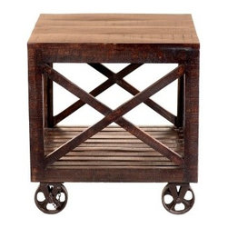 "YOSEMITE HOME DECOR - End Table - X marks the spot. This end table is made of solid mango wood. The soft but raw textured case has a beautiful dark espresso finish. Featuring a safety pin stop for added security. Assembled and Made in India.  Overall Item Dimension is 24""Wx24""Dx24""H."