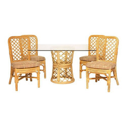 """Pre-owned McGuire Style Bamboo Dining Set - McGuire style dining set featuring a thick, carved rattan frame and detailed fretwork back rests. In good condition with tightly wrapped joints and a gloss finish. Square glass table top with round double basket base. Make it your own by lacquering it in any color you could imagine!     Table: 48""""w x 48""""d x 29""""h  Chairs: 20""""w x 20""""d x 38""""h x 19""""h (seat)"""