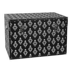 Oriental Furniture - Damask Storage Trunk - Black - Recalling both the regal fashions from centuries past as well as high-demand designer goods of today, this white-on-black pattern is designed to impress. Coordinated to look fantastic from every side, a classic European damask pattern has been printed on high-quality canvas and wrapped around a sturdy yet surprisingly lightweight wooden frame. Featuring an inconspicuous arm to hold the lid open and external clasps to keep it shut tight, this chest is a perfect marriage of form and functionality. Faux leather edges protect the canvas and a soft, fabric lined interior cushions your possessions, bringing you comfort and security at a great value. This trunk is the perfect choice for adding both storage and splendor to your home or business.
