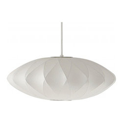 Saucer Criss Cross Nelson Lamp - A modern icon with an interesting texture and geometry, this classic from the prolific George Nelson is a must-have fixture for modernists. It's the perfect pendant over a round eat-in kitchen table, as well as many other spots!