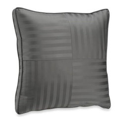 Wamsutta - Wamsutta Damask Stripe European Pillow in Grey - Add the perfect finishing touch to your Damask Stripe comforter set with this coordinating pillow. It's the perfect complement to this lustrous bedding.