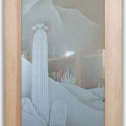 """Interior Glass Doors - Desert Cactus 3D w/ Blooms in Color - CUSTOMIZE YOUR INTERIOR GLASS DOOR!  Interior glass doors or glass door inserts.  .Block the view, but brighten the look with a beautiful interior glass door featuring a custom frosted glass design by Sans Soucie!  ship for just $99 to most states, $159 to some East coast regions, custom packed and fully insured with a 1-4 day transit time.  Available any size, as interior door glass insert only or pre-installed in an interior door frame, with 8 wood types available.  ETA will vary 3-8 weeks depending on glass & door type........  Select from dozens of sandblast etched obscure glass designs!  Sans Soucie creates their interior glass door designs thru sandblasting the glass in different ways which create not only different levels of privacy, but different levels in price.  Bathroom doors, laundry room doors and glass pantry doors with frosted glass designs by Sans Soucie become the conversation piece of any room.   Choose from the highest quality and largest selection of frosted decorative glass interior doors available anywhere!   The """"same design, done different"""" - with no limit to design, there's something for every decor, regardless of style.  Inside our fun, easy to use online Glass and Door Designer at sanssoucie.com, you'll get instant pricing on everything as YOU customize your door and the glass, just the way YOU want it, to compliment and coordinate with your decor.   When you're all finished designing, you can place your order right there online!  Glass and doors ship worldwide, custom packed in-house, fully insured via UPS Freight.   Glass is sandblast frosted or etched and bathroom door designs are available in 3 effects:   Solid frost, 2D surface etched or 3D carved. Visit our site to learn more!"""