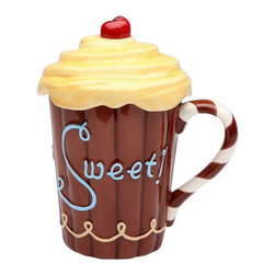 "ATD - 'Life Is Sweet' Chocolate Brown Mug With Yellow Frosting Lid - This gorgeous 5.75 Inch ""Life is Sweet"" Chocolate Brown Mug with Yellow Frosting Lid has the finest details and highest quality you will find anywhere! 5.75 Inch ""Life is Sweet"" Chocolate Brown Mug with Yellow Frosting Lid is truly remarkable."