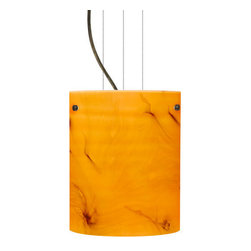 Besa Lighting - Besa Lighting 1KG-4006HB-LED Tamburo 1 Light LED Cable-Hung Pendant - Tamburo is a classic open-ended cylinder of handcrafted glass, a shape that will stand the test of time. Our Habanero glass is a warm toned cased glass, with inner opal and a glossy finish. The color of vibrant Persimmon is accented by flowing marbleized black lines, and nestled between the inner opal and outer clear layers. When lit the glass is vitalizing as well as stylish, that adds appeal to any environment. This blown glass is handcrafted by a skilled artisan, utilizing century-old techniques passed down from generation to generation. Each piece of this decor has its own artistic nature that can be individually appreciated. The cable pendant fixture is equipped with three (3) 10' silver aircraft cables and 10' AWM cordset, and a low profile flat monopoint canopy.Features: