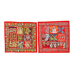 Mogu Interior - Decorative Red Cushion Cover 2 - The ethnic combination of gujrati embroidery and stunning vibrant colors, sari tapestry patchwork and sequin embroidered that shows India's rich cultural heritage.