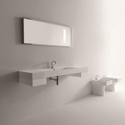 "WS Bath Collections - Cento 55.1"" x 17.7"" Wall/Counter Ceramic Sink - Cento by WS Bath Collections Bathroom Sink 55.1 x 17.7, Wall Hung or Counter Top Installation, With One Faucet Hole Centered, In Ceramic White Sink, Does Not Include Optional Accessories, Designed by Marc Sadler,  ADA Compliant, Made in Italy"