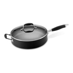 Anolon - Anolon Advanced 5 Quart Hard Anodized Nonstick Saute Pan - Extremely versatile pans - no kitchen should be without one! Used for sauteing meats and vegetables, frying chicken, pancakes, eggs, or grilling sandwiches. Deep sides give extra capacity so that you can braise, stew, deglaze, or add additional ingredients after browning for recipes such as chicken and rice or paella. - Capacity: 5 Quarts.  - Weight: 8.5 lbs.