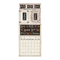 RoomMates - Family and Friends Peel & Stick Dry Erase Calendar - Add functionality to any room in moments with these country themed wall decals. These removable and reusable designs include a dry erase calendar that can be used to keep track of important dates, as well as peel and stick picture frames and country-themed accents. The stickers can be applied to any smooth surface and moved around multiple times--without damaging the paint. A great decorating idea for country themed kitchens or living spaces!