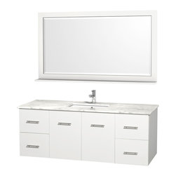 Wyndham Collection - 22.25 in. Wall Mounted Vanity Set in White Finish - Includes mirror. Faucet not included. Four functional doors. Two functional drawers. Twelve stage wood preparation, sanding, painting and finishing process. Highly water resistant low V.O.C. sealed finish. Unique and striking contemporary design. Modern wall mount design. Deep doweled drawers. Fully extending under mount soft close drawer slides. Concealed soft close door hinges. Single faucet hole mount. Plenty of storage space. Plenty of counter space. Matching mirror with shelf. Square porcelain undermount sink. 5 in. thickness. Engineered to prevent warping and last a lifetime. Made from environmentally friendly zero emissions solid oak hardwood. Exterior hardware with brushed chrome finish. Minimal assembly required. Mirror: 58 in. W x 33 in. H. Vanity: 60 in. W x 22.25 in. D x 22.75 in. H. Care Instructions. Assembly Instructions - Vanity. Assembly Instructions - Counter Top. Assembly Instructions - Sink. Mirror Installation GuideSimplicity and elegance combine in the perfect lines of the Centra vanity by the Wyndham Collection. If cutting-edge contemporary design is your style then the Centra vanity is for you - modern, chic and built to last a lifetime. The attention to detail on this beautiful vanity is second to none.