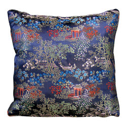 China Furniture and Arts - Silk Pillow - Scenery Design, Navy Blue - Embroidered with traditional Chinese pattern. The Chinese traditional court yard design is brocaded on the luxurious navy blue silk. Mix or arrange decoratively on a sofa, bed, or chaise. Zipper cover removes for dry cleaning.