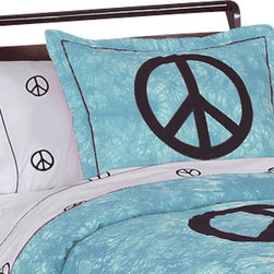 Sweet Jojo Designs - Blue Peace Pillow Sham - The Blue Peace standard pillow sham coordinates beautifully with the Sweet jojo designs, Blue Peace bedding collection. This pillow sham is a quick and easy way to complete the look and theme in your child's bedroom. Machine washable. Fits all standard size pillows. The Pillow Sham Dimensions are 20 in. x 26 in.