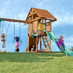 "Kids Creations - Redwood Circus 2 Swing Set - Features: -Redwood circus 2 swing set. -Set includes: rope disc swing; safety step ladder, inclined with wide flat 2""x6"" ladder steps. Tire Swing NOT Included. -100% redwood. -Naturally decay resistant and virtually splinter free. -For residential use only. -Limited Lifetime Warranty- -Solid frame design with extra spaced three position swing bay for safe swinging. -Swing rated at 250 lbs per swing. -Two heavy-duty, 1 piece molded belt swings with reinforced nylon grommets and UV protected to resist fading. -Matching plastisol coated 'pinch-free' chains that stay cool to the touch and won't fray or rust. -Rock climbing wall with rock grips, wood canopy, 96"" rope ladder, sandbox. -Ten foot heavy duty wave slide, ductile iron swing hangers. -Accessories include two telescopes, steering wheel and tic tac toe panel."