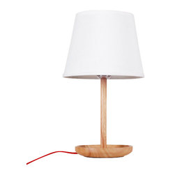ParrotUncle - Wooden Bowl Base Bell Shade Table Lamp - Lamp helps us to lighten our home with soft lights. This table lamp has large white shade will just filter electric light and spread out smoothly to every space of our house. The bowl shape base is stylish and useful to store small stuff we avoid missing.