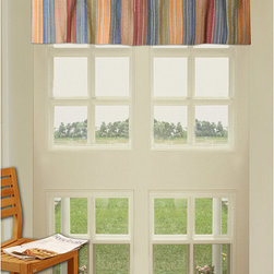 None - Katy Multi Striped Quilted Valance - Add a splash of color to your window with these stylish contemporary valances from Katy. Their multicolored stripes make them an easy fit with almost any decor, and they are both lined and quilted to ensure their durability and style.