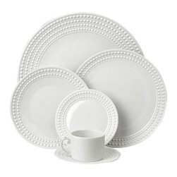 L'Objet - L'Objet Perlee White Four Piece Place Setting - Inspired by the timeless elegance and modernity of the pearl. Limoges Porcelain, an Made in Portugal Dishwasher & Microwave Safe1 each Dinner, Salad, Bread Plate, Mug, Sauceran. L'Objet is best known for using ancient design techniques to create timeless, yet decidedly modern serveware, dishes, home decor and gifts. verdana, geneva;
