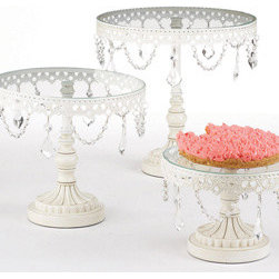 Jeweled Vintage French White Cake Stands - Um yes, I'd like my fancy cake stands dripping with jewels, please. Merci beaucoup.