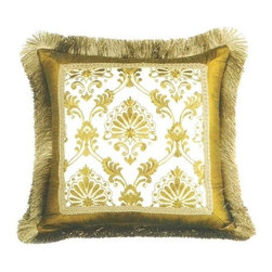 "CCCC-P-1042 - Tavoos Silk Damask Pattern Print 20"" x 20"" Throw Pillow with Brush Fringe Trim - Tavoos silk damask pattern print 20"" x 20"" throw pillow with brush fringe trim. Measures 20"" x 20"" made with a blown in foam and also available with feather down inserts at additional costs, search for down insert upgrade to add the up charge to your order. These are custom made in the U.S.A and take 4- 6 weeks lead time for production."