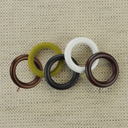 Blinds.com Draperies - Wood Eyelet Rings. Whites and off-whites,Neutrals and ear - Wood Eyelet Rings - Buy with Confidence, Get Free Samples Today!Select Blinds.com Wood Eyelet Rings to match our Custom 1 3/8 Inch Wood Drapery Hardware. These rings feature a beautiful, hand-applied painted or stained finish,  and can be sewn on to your drapery or top treatment, or attach to drapery hooks.  They are made to work on drapery rods up to 1 3/8 in diameter. Important note:  Wood Rings will not traverse over brackets, which are typically needed over a 72  width. For widths greater than 72 choose a 2 panel treatment that meets in the  middle to avoid this issue.