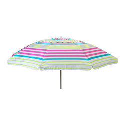 DestinationGear - 7 ft Beach Umbrella Pink Stripe With Travel Bag - Head to the beach with this 7' Beach Umbrella! With a fun and colorful stripe pattern this umbrella instantly makes any outdoor activity feel like a party, with its fun and colorful stripe design. Also works great next to the pool- just stick the pole in the grass! The 7 foot diameter umbrella will keep you and your friends or family shaded from the suns harmful UV rays as well as any uncooperative weather. This umbrella offers a sturdy 8 fiberglass ribs and a sturdy aluminum pole. An easy push up, standard style mechanism allows anyone to put up or take down this lightweight umbrella. The Umbrella also has the desirable tilt feature, to protect you from the sun as it moves throughout the day. An included stowaway bag makes transported this umbrella to and from the beach a piece of cake!