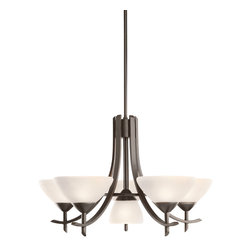 Kichler Lighting - Kichler Lighting 1676OZW Chandelier - Olde Bronze with Satin Etched Glass - Bulb Type: CAND. Bulb Base: Candelabra (E12), Medium (E26). Bulb Count: 6. Bulbs Not Included