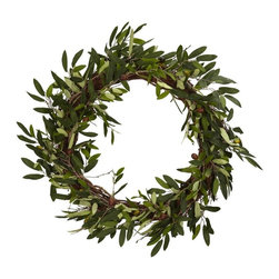 "20"" Olive Wreath - Conjuring up images of old friends and close family, this striking Olive Wreath will help to set the mood for your next dinner event. Filled with beautiful and lush green leaves encompassing a perfect circle, this Olive Wreath will be a big hit as you serve up that favorite Italian or Greek meal, whetting your guests "" appetites for not only for the food, but the wonderful surroundings. Height= 20 in x Width= 20 in x Depth= 20 in"