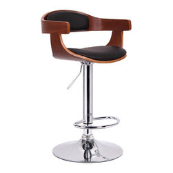 Baxton Studio - Baxton Studio Garr Walnut and Black Modern Bar Stool - Kitchen counters and bars are high-traffic zones and can be a challenge
