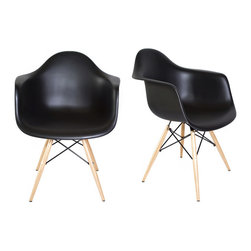Laura Davidson - Chelsea DAW Arm Chair - Set of 2, Black - Classic Eames style DAW molded plastic chair from Laura Davidson.