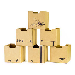 Quark Enterprises - Bird-Print Cardboard Cubby Bins, 6-Pack - Sprout cardboard cubby bins offer simple, modern, and practical design. Made from recycled cardboard, these bins will help to organize your child's life. Designed for use in the Sprout Cubby, you can store books, toys and more in these fun storage bins. More economical than plastic and canvas bins, Sprout cubby bins feature fun graphic designs, and add a unique touch to any playroom, bedroom or nursery.