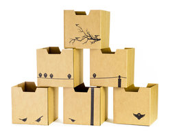 Quark Enterprises - Bird Print Cardboard Cubby Bins, 6-Pack - Sprout cardboard cubby bins offer simple, modern, and practical design. Made from recycled cardboard, these bins will help to organize your child's life. Designed for use in the Sprout Cubby, you can store books, toys and more in these fun storage bins. More economical than plastic and canvas bins, Sprout cubby bins feature fun graphic designs, and add a unique touch to any playroom, bedroom or nursery.