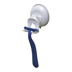 Razor Holder on Strong Suction Cup White - This razor holder is made of durable polypropylene. It features one extremely strong suction cup for a secure adhesion to shower tiles. Simply turn the suction cup button and hold firmly to your shower wall. It easily holds any standard razor without any drilling, tools, or damage to your walls. Length of 2.35-Inch, depth of 2.55-Inch and height of 2.3-Inch. Wipe clean with soapy water. Color white. An attractive way to keep your razor where you want it, within reach and to add an elegant design to your bathroom! Complete your decoration with other products of the same collection. Imported.