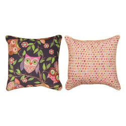Pair of `Give a Hoot` Owl Print Reversible Throw Pillows - This pair of 18 inch by 18 inch cotton / polyester blend throw pillows adds a wonderful accent to your home decor. The pillows are reversible, with an adorable owl print on the front, and a pink, white and green dot pattern on the back. They have 100% polyester stuffing. These pillows are crafted with pride in the Blue Ridge Mountains of North Carolina, and add a quality accent to your home. Original artwork by Wendy Bentley. They make great gifts for owl lovers.