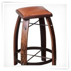2 Day Designs Reclaimed 24 in. Stave Counter Stool with Leather Seat - Counter S
