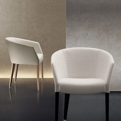 Giorgetti - Giorgetti Margot Dining Chair - Armchair with the frame in solid beech wood and the seat frame in curved plywood. Seat and back paddings are in expanded polyurethane, covered in fiber. The legs are in solid polished beech wood equipped with foot-caps in satin-finished aluminium. The covering is available either fabric or leather, completely removable. Price includes shipping to the USA. Manufactured by Giorgetti.Designed in 2009.